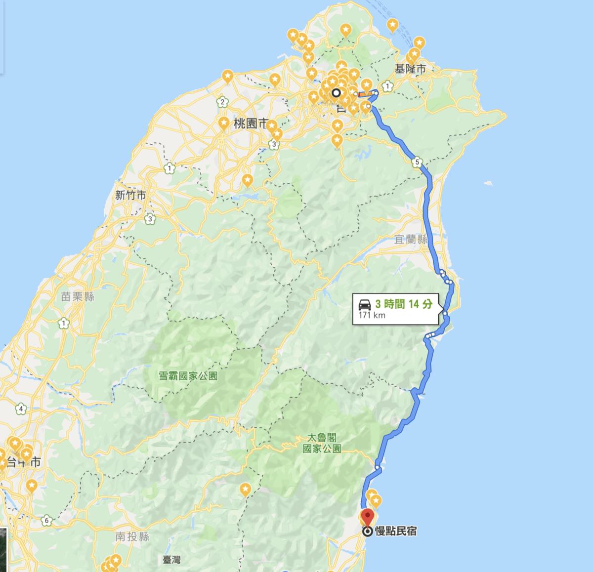 台北-花蓮ドライブマップ