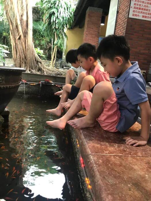 子供たちは魚に足を食べられるのを怖がっていました:
