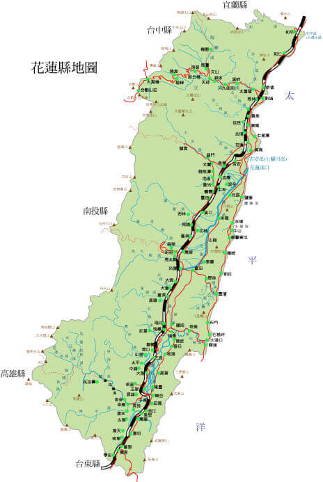 花蓮県地図